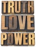 Verità, amore e potere Fotografia Stock Libera da Diritti