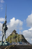 Verity. The Verity Statue by Damien Hirst rising over the harbour of Ilfracombe, Devon, England royalty free stock photo