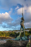 Verity - statue in Ilfracombe of the author Damien Hirst. Ilfracombe, North Devon, England, 13 July, 2016: Verity - statue in Ilfracombe of the author Damien stock photography