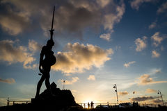 Verity - statue in Ilfracombe of the author Damien Hirst. Ilfracombe, North Devon, England, 13 July, 2016: Verity - statue in Ilfracombe of the author Damien royalty free stock images