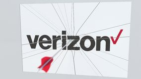 VERIZON λογότυπο επιχείρησης που χτυπιέται από το βέλος τοξοβολίας Εννοιολογική εκδοτική ζωτικότητα επιχειρησιακής κρίσης απεικόνιση αποθεμάτων