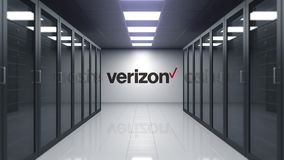 Verizon communications logo on the wall of the server room. Editorial 3D animation