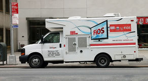 Verizon Fios. A vehicle of Verizon Fios parking in 7th avenue in Manhattan NY Stock Images
