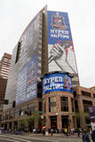 Verizon Super Bowl XLIX Fan Central Phoenix. Downtown Phoenix celebrated hosting Super Bowl XLIX and Pro Bowl with many special NFL football fan attractions to royalty free stock images