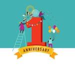 Verjaardag - achtergrond met mensen die pictogrammen en aantallen vieren Royalty-vrije Stock Fotografie