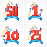Verjaardag - achtergrond met mensen die pictogrammen en aantallen vieren Royalty-vrije Stock Foto