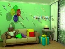 Verjaardag babyroom (kindruimte) Stock Foto