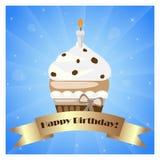 Verjaardag cupcake met banner Royalty-vrije Stock Afbeelding