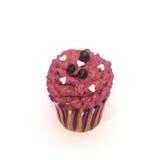 Verjaardag cupcake met boterdieroom op wit wordt geïsoleerd Royalty-vrije Stock Foto's