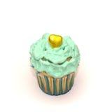 Verjaardag cupcake met boterroom op wit Stock Foto