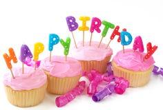 Verjaardag cupcakes Stock Foto