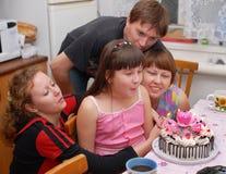 Verjaardag. Een familie. Royalty-vrije Stock Afbeeldingen
