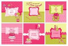 Verjaardag en Partijthemakaarten Stock Afbeelding