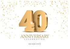 Verjaardag 40 gouden 3d aantallen vector illustratie