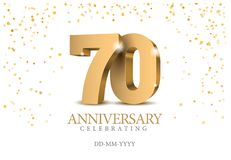 Verjaardag 70 gouden 3d aantallen vector illustratie