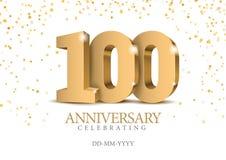 Verjaardag 100 gouden 3d aantallen royalty-vrije illustratie