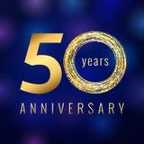 Verjaardag het gekleurde vectorembleem van het 50 jaaraantal goud Stock Fotografie