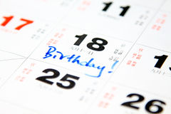 Verjaardag op kalender Royalty-vrije Stock Afbeelding
