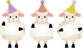 Verjaardag sheeps met uithangborden Royalty-vrije Stock Foto