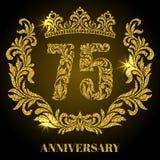 Verjaardag van 75 jaar Cijfers, kader en kroon in wervelingen worden gemaakt die stock illustratie