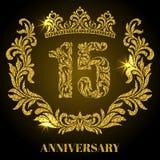 Verjaardag van 15 jaar Cijfers, kader en kroon in wervelingen worden gemaakt die stock illustratie