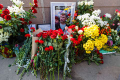 Verjaardag van moord van de oppositional politicus Boris Nemts stock fotografie