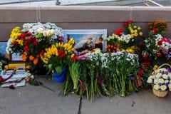 Verjaardag van moord van de oppositional politicus Boris Nemts stock foto's