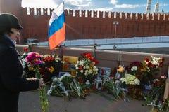 Verjaardag van moord van de oppositional politicus Boris Nemts stock afbeelding