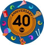 Verjaardag veertigste Kunst van illustratie vector illustratie