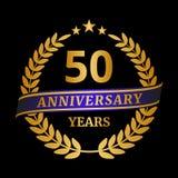 Verjaardags gouden lauwerkrans op zwarte achtergrond stock illustratie