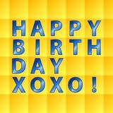 Verjaardags kaart-geel vierkanten Stock Foto