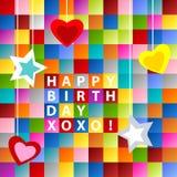 Verjaardags kaart-kleurrijke vierkanten Stock Foto