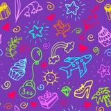 Verjaardags naadloos patroon, krabbel vector illustratie
