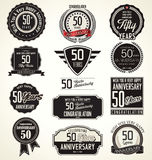 Verjaardags retro etiketten, 50 jaar Stock Foto