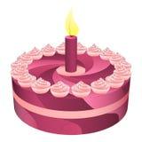 Verjaardags roze cake met één kaars  Royalty-vrije Stock Afbeeldingen