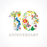 10 verjaardags volksembleem Royalty-vrije Stock Afbeelding