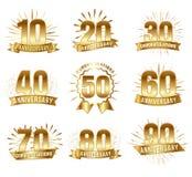Verjaardagsaantallen in goud Royalty-vrije Stock Foto