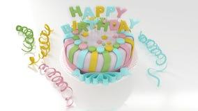 Verjaardagsachtergrond met decoratieve kleurrijke cake en wimpels Royalty-vrije Stock Afbeeldingen