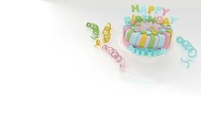 Verjaardagsachtergrond met decoratieve kleurrijke cake en wimpels Royalty-vrije Stock Foto