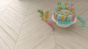 Verjaardagsachtergrond met decoratieve kleurrijke cake en wimpels Royalty-vrije Stock Foto's