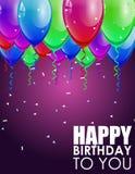 Verjaardagsachtergrond met Kleurrijke Ballons Stock Afbeelding
