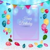 Verjaardagsachtergrond met kleurrijke ballons en leeg document Royalty-vrije Stock Fotografie