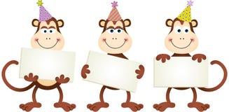 Verjaardagsapen met uithangborden Royalty-vrije Stock Afbeelding
