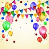 Verjaardagsballon en vlag Stock Afbeeldingen