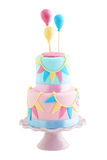 Verjaardagscake met ballons Royalty-vrije Stock Afbeeldingen