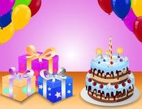 Verjaardagscake met colorfullballon en verrassingsdoos Stock Afbeeldingen