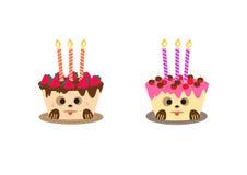 Verjaardagscake met kaars, voor de Gelukkige kaart die van de Verjaardagsgroet wordt ontworpen Royalty-vrije Stock Foto