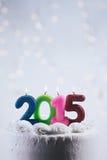 Verjaardagscake om Nieuwjaar 2015 te vieren Stock Foto