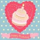 Verjaardagscake op de achtergrond Royalty-vrije Stock Foto's