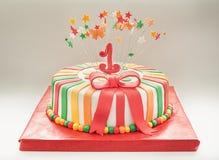 Verjaardagscake voor Eerste Jaar Royalty-vrije Stock Afbeelding